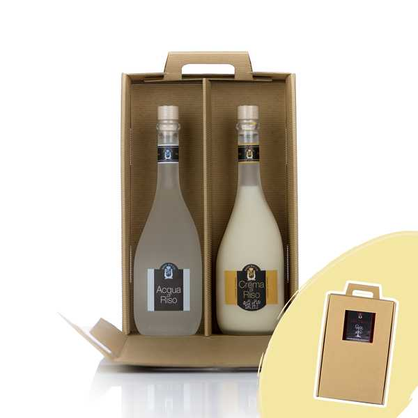 Brown box with Rice Cream and Rice water (liquor)